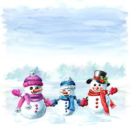 Happy snowmen family in cap, scarf and mittens on the winter Zdjęcie Seryjne