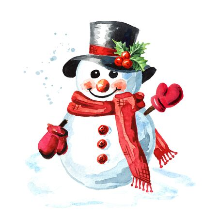 Snowman in a black bowler hat, red scarf and mittens