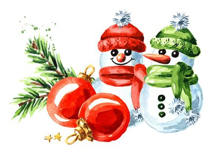 Snowmen with Christmas red balls and green fir branch. Zdjęcie Seryjne