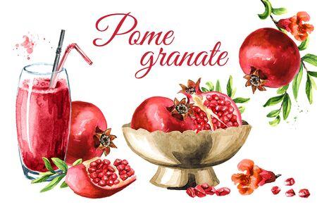 Fresh ripe pomegranate fruit card. Zdjęcie Seryjne