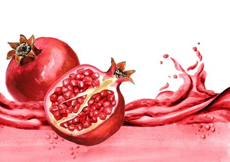 Fresh pomegranate on a wave of juice Zdjęcie Seryjne