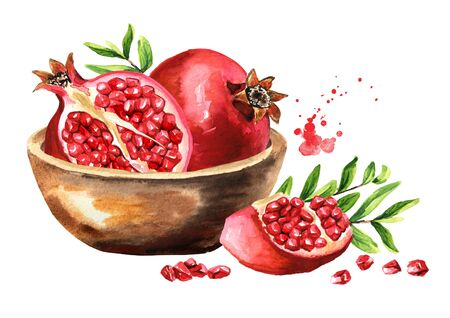 Fresh ripe pomegranate fruit in the bowl.