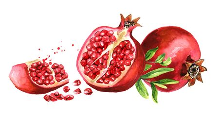 Fresh ripe whole and cut pomegranate horizontal composition.