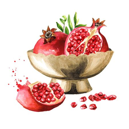 Fresh ripe whole and cut pomegranate in the bowl