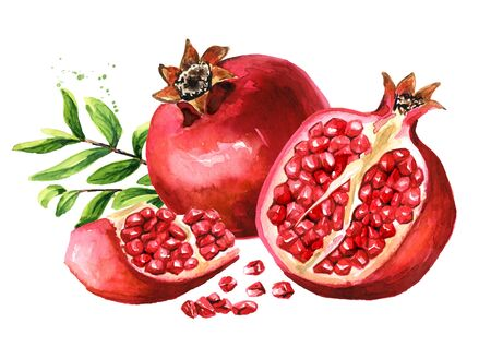 Pomegranate composition with fruits and green leaves Zdjęcie Seryjne - 131570205