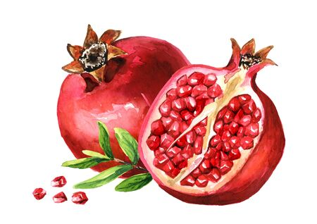Pomegranate fruit whole and half and green leaves.