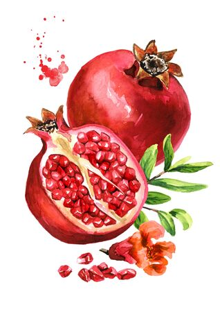Pomegranate fruit whole and half, green leaves and a flower, vertical composition.