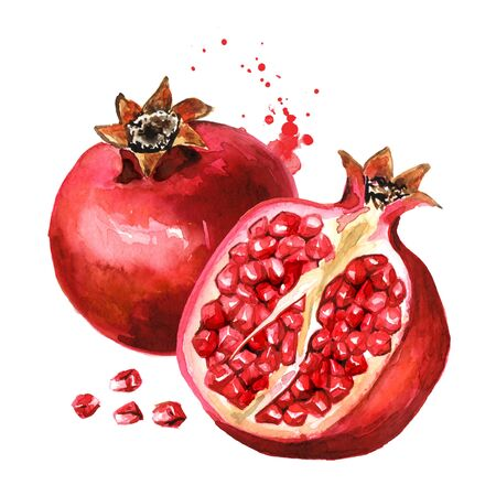 Pomegranate fruit whole and half.