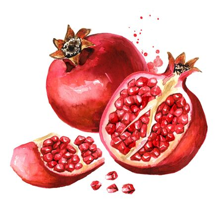 Pomegranate fruit with seeds.