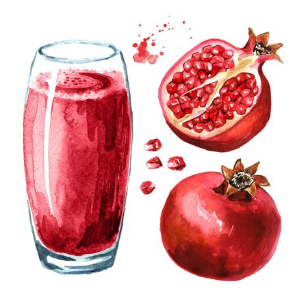 Pomegranate juice glass and Pomegranate fruit set.