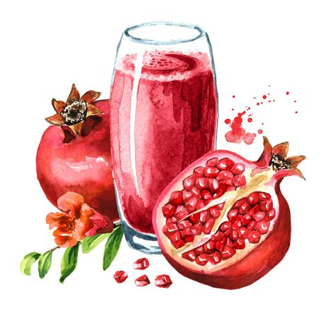 Pomegranate juice in the glass and Pomegranate fruit whole and half with flower and seeds.