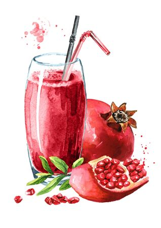 Pomegranate juice in the glass and Pomegranate fruit whole and half. Zdjęcie Seryjne