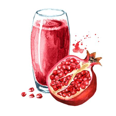 Pomegranate juice in the glass and Pomegranate fruit.
