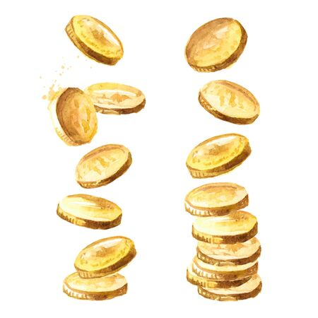 Falling gold coins, falling money set.