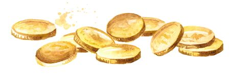 Gold coins, money. Jackpot or success concept.