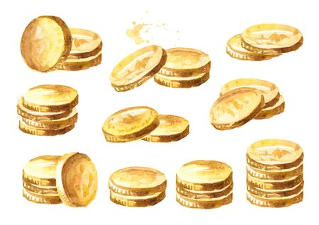 Golden coins set isolated on white