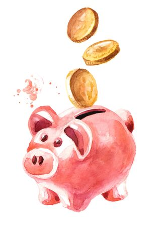 Piggy bank with coins falling into slot. Archivio Fotografico