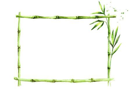Bamboo frame, Wood stick banner.