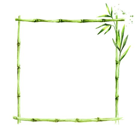 Bamboo frame. Wood stick banner. Zdjęcie Seryjne - 131570768
