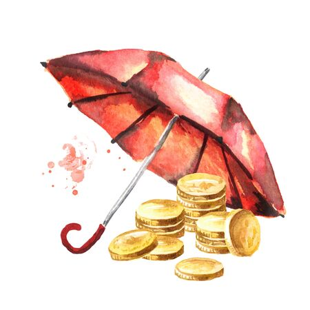 Coins money under the umbrella.