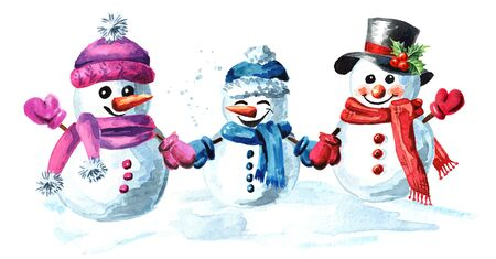 Happy snowmen family in cap, scarf and mittens.