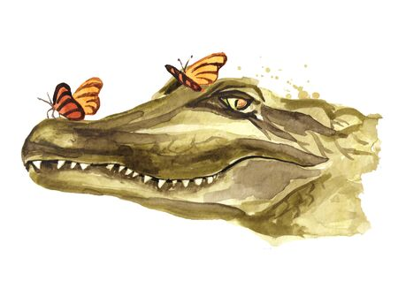 The smiling muzzle or head of a crocodile or Alligator with butterfly. Watercolor hand drawn illustration, isolated on white background Zdjęcie Seryjne