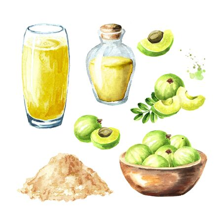 Amla products on white