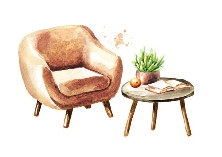 A chair and a coffee table with a book, an orange and a houseplant. Sweet home concept. Comfort interior. Watercolor hand drawn illustration, isolated on white background