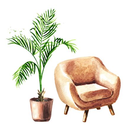 A chair and a houseplant. Sweet home concept. Comfort interior. Watercolor hand drawn illustration, isolated on white background Stok Fotoğraf