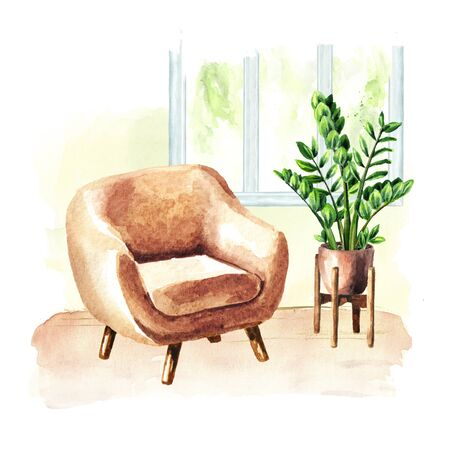 Armchair near the window and potted plant. Comfort interior. Watercolor hand drawn illustration, isolated on white background Stok Fotoğraf
