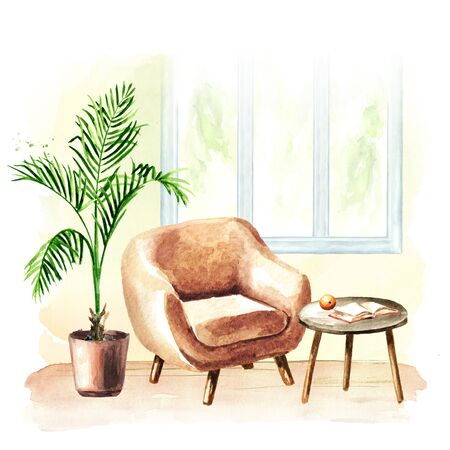 Armchair near the window, coffee table and potted plant. Comfort interior. Watercolor hand drawn illustration, isolated on white background