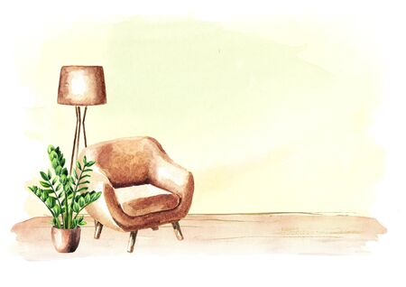 Chair in front of the empty wall. Interior or renovation concept, Watercolor hand drawn illustration with copy space