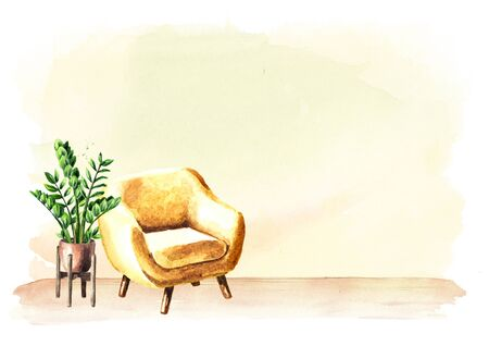 Chair in front of the empty wall. Interior or renovation concept. Watercolor hand drawn illustration with copy space Stok Fotoğraf