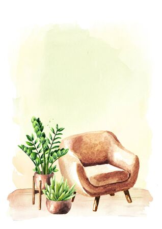 Chair with houseplants in front of the empty wall, Interior or renovation concept. Watercolor hand drawn illustration with copy space