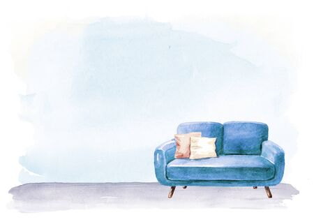 Empty interior design with copy space. Sofa and lamp, blank wall. Watercolor hand drawn illustration, isolated on white background Stok Fotoğraf