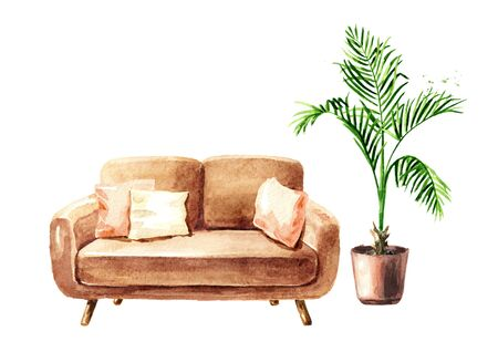 Empty interior design with copy space. Sofa and potted plant. Watercolor hand drawn illustration  isolated on white background