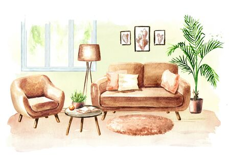 Modern living room with sofa and furniture. Watercolor hand drawn illustration Stok Fotoğraf
