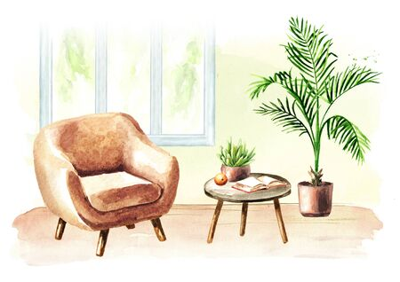 Modern living room with window, chear and furniture. Watercolor hand drawn illustration