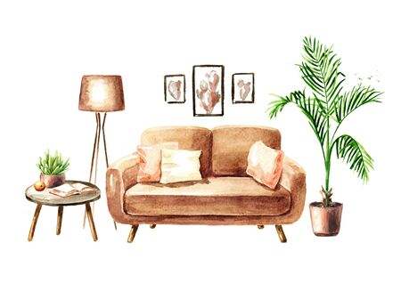 Sofa and a coffee table with a book, an orange and a houseplant. Sweet home concept. Comfort interior. Watercolor hand drawn illustration, isolated on white background Stok Fotoğraf