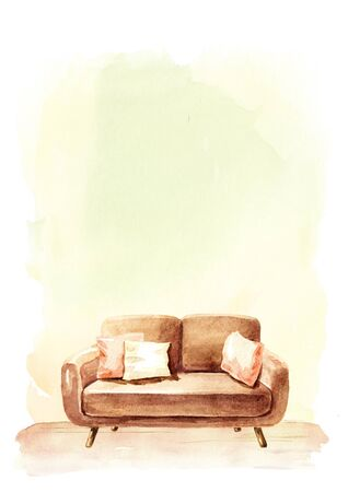 Sofa in front of the empty wall, Interior or renovation concept. Watercolor hand drawn illustration with copy space Stok Fotoğraf