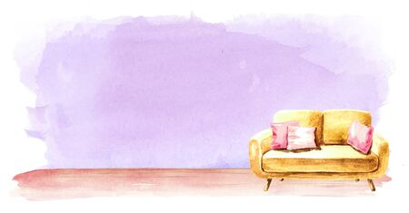 Sofa in front of the empty wall. Interior or renovation concept. Watercolor hand drawn illustration with copy space