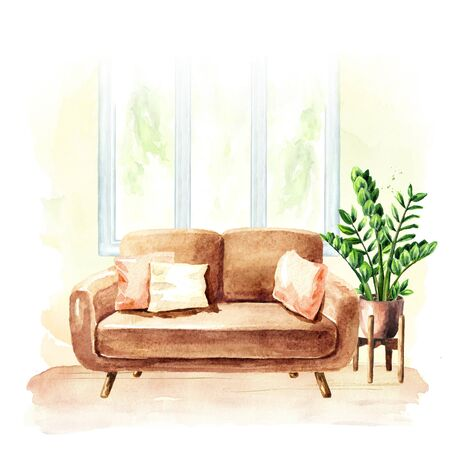 Sofa near the window and potted plant. Comfort interior. Watercolor hand drawn illustration, isolated on white background