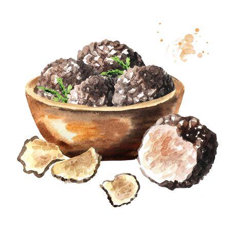 Bowl with black truffle mushrooms.
