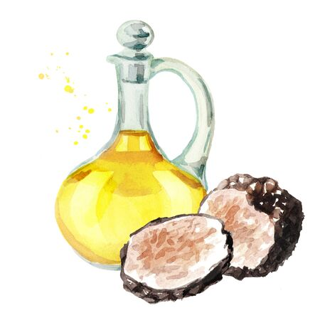 Fresh black truffle oil, Watercolor hand drawn illustration, isolated on white background