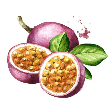 Whole and half passion fruits maracuya with green leaf.