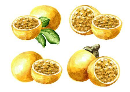 Whole and half yellow passion fruits maracuya set Stock fotó