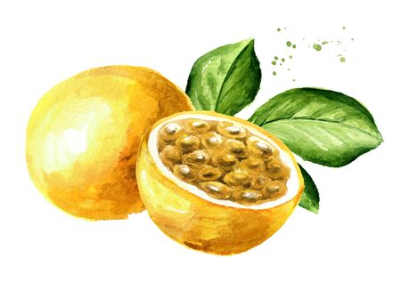 Whole and half yellow passion fruits maracuya with green leaf.