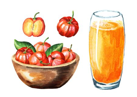 Bowl with Fresh ripe Acerola Barbados cherry and glass of Acerola juice set. Watercolor hand drawn illustration isolated on white background Stock Photo