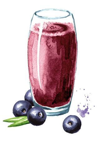 Glass of acai juice with fresh acai berries.