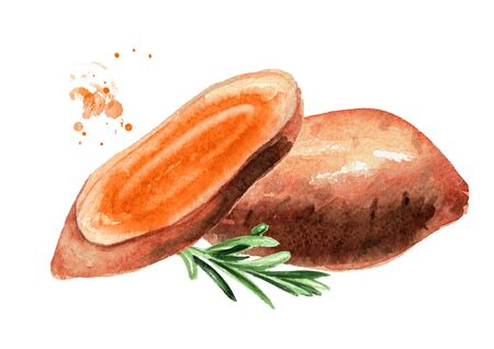 Whole and cut raw sweet potato and rosemary.